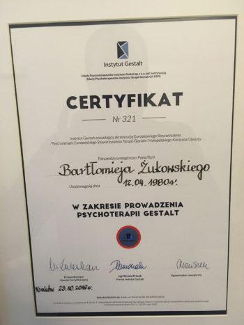 Certyfikat Psychoterapeuty Gestalt